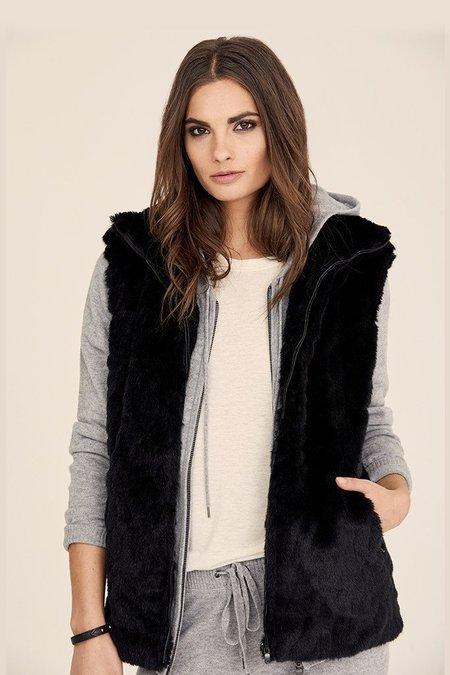 David Lerner Quilted Faux Fur Vest - Black