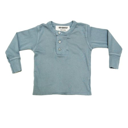 Kids Go Gently Nation Wide Placket Henley - Mineral Blue