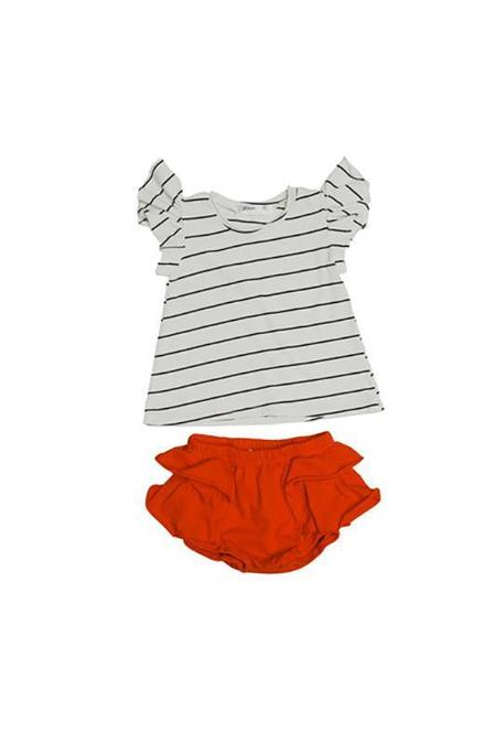 Kids Joah Love Zadie Set Stripe Ruffle Sleeve Top with Ruffle Bloomers - Sunburn
