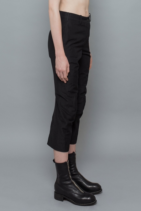 Forme D'expression Curved Pants with Slit-Cuff - Black