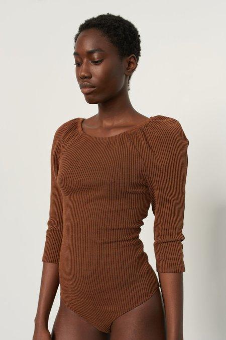 Mara Hoffman Chiara Bodysuit - Black/Brown