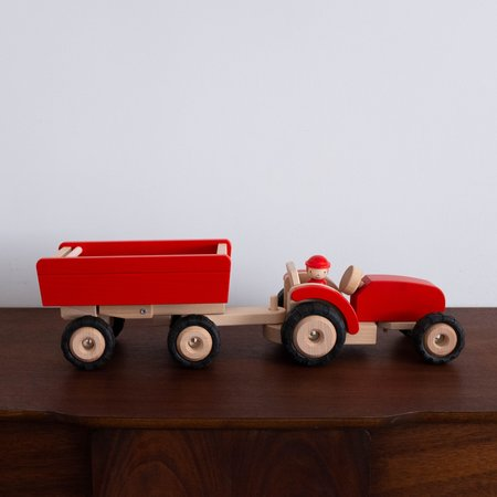 Kids Shop Merci Milo Tractor with Trailer - Red
