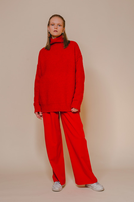 OPUSION Funnel Neck Pullover Sweater - red