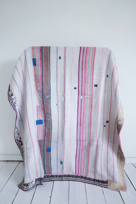 Karu Vintage Kantha Quilt - Pink/Purple
