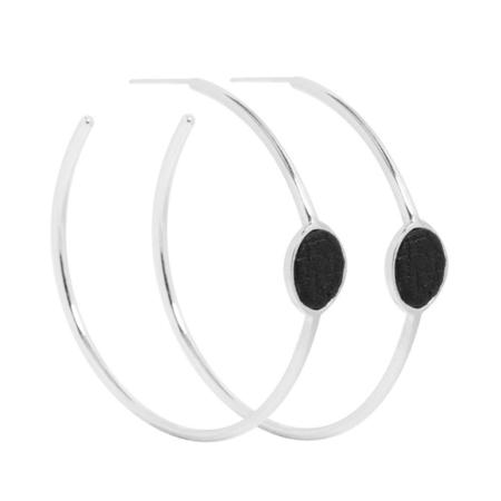 Ale Bremer Inlay Leather Large Hoop Earrings - Silver