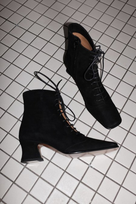 BY FAR Kate Suede Boots - BLACK
