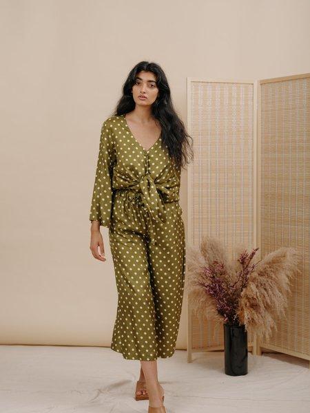Wolcott : Takemoto Yayoi Silk Pant - Olive Polka Dot