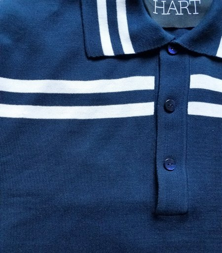 David Hart double stripe polo sweater - Navy