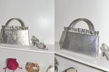 Vintage Alegra Large Handbag - Silver Metallic
