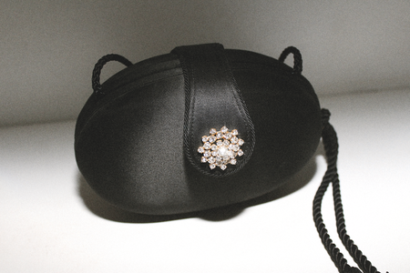 Las Cruxes Vintage Satin Consuelo Structured Evening Bag with Rhinestones & Tassels - Black