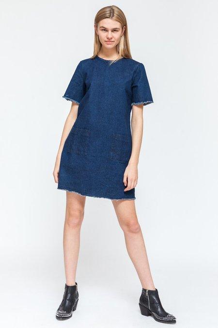 Native Youth DENIM RAW EDGE DRESS - blue