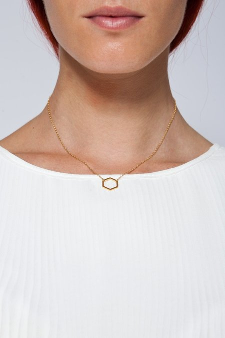 MOUTSATSOS SHORT GEOMETRY NECKLACE WITH GOLD MOTIF - GOLD