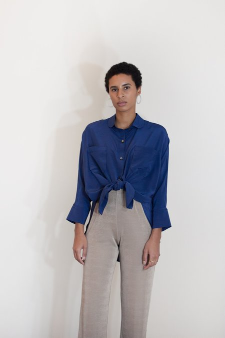 Megan Huntz Steph Round Collar Blouse - Blue