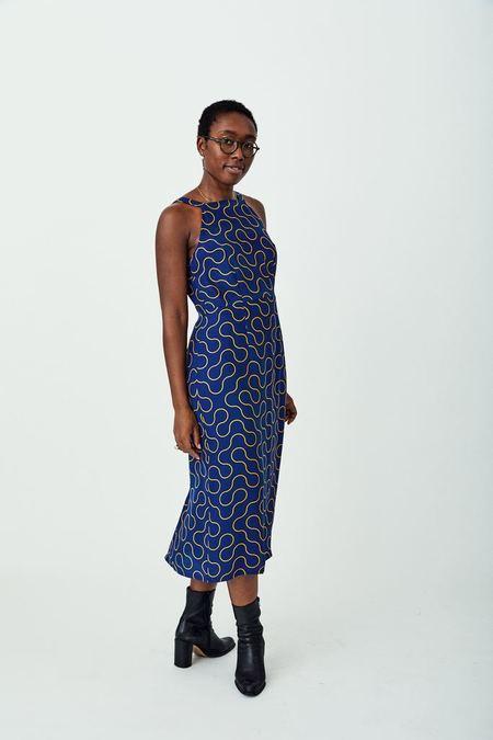 Dusen Dusen High Neck Silk Dress - Blue Arc