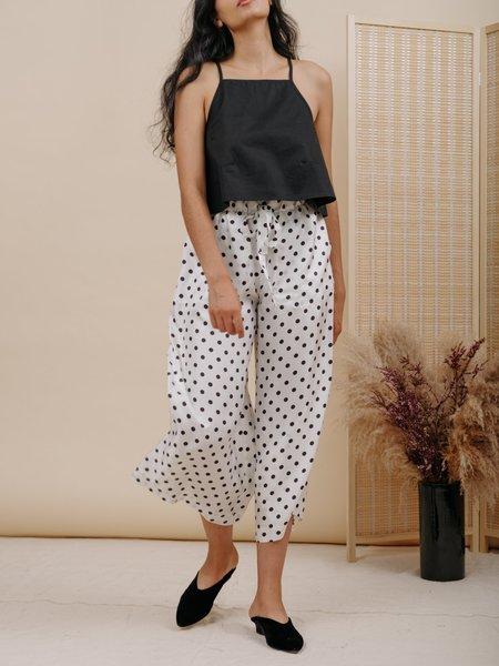Wolcott : Takemoto Yayoi Pant - White Polka Dot Silk