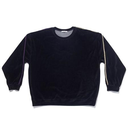 S.K. Manor Hill Velour Crewneck w/ Braid Sweatshirt - Black