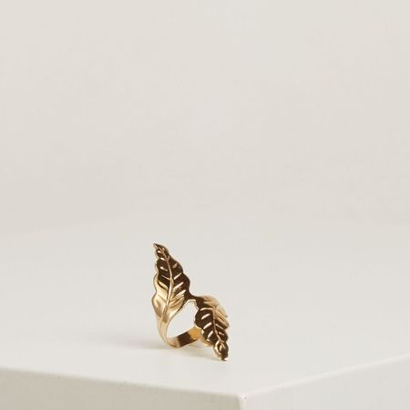 The Thorny Roses Open Leaf Ring - Gold