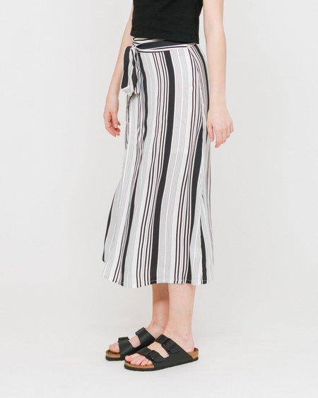 Side Party Soon Striped Midi Wrap Skirt - White/Black Stripes
