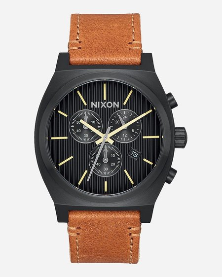 Nixon Time Teller Chrono Leather Watch - Black/Stamped/Brown