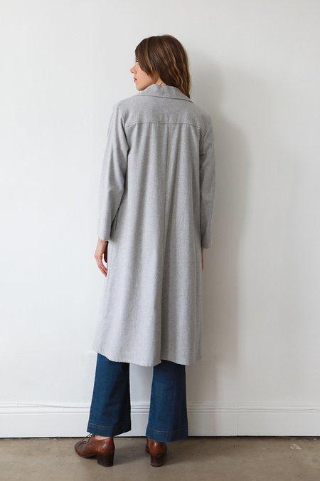 Me & Arrow Flannel Long Jacket Dress - Grey