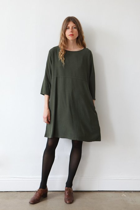 Me & Arrow 3/4 Sleeve Basic Dress - Moss