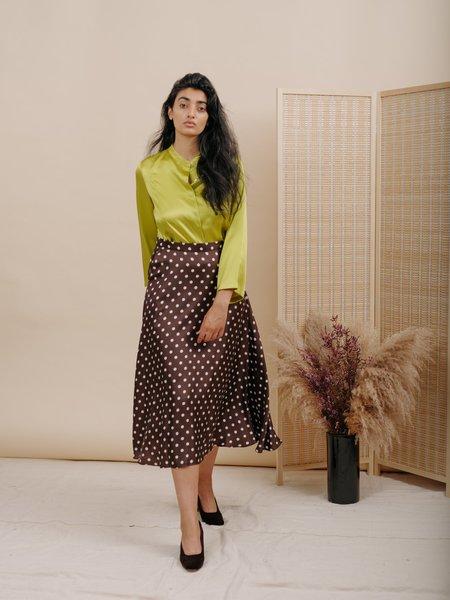Wolcott : Takemoto Shadow Skirt - Brown Polka Dot Silk