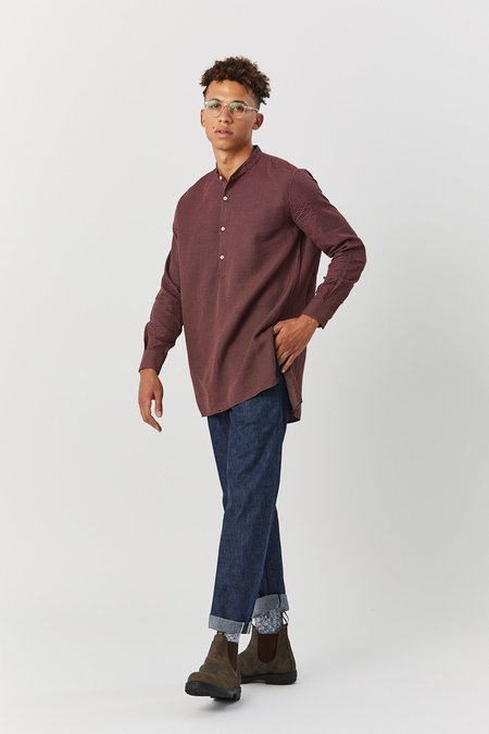 House of St. Clair MARTIUS TUNIC - MAROON CHECK