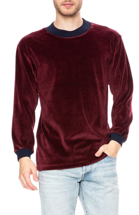 Freshjive Gol Velour Long Sleeve Sweatshirt - Maroon