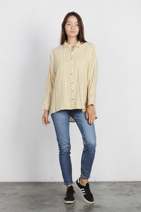 Mod Ref Myrtle Striped Boyfriend Top - Mustard