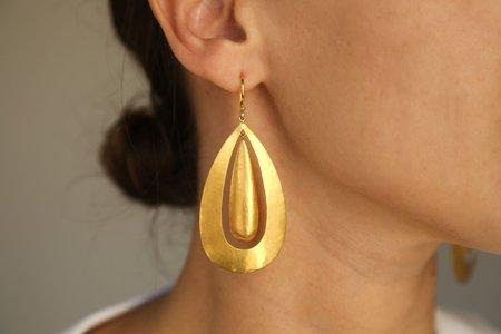 Darlene De Sedle Large Sheet Double Oval Earring - 22K Gold