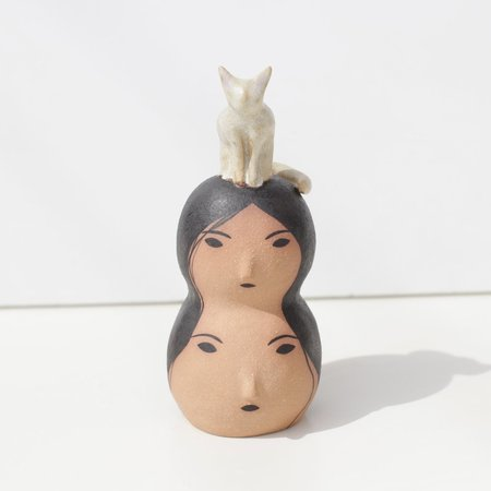 Rami Kim Stacked Lady Sculpture with Kitty