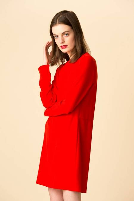 Tibi Triacetate Shift Dress - Red