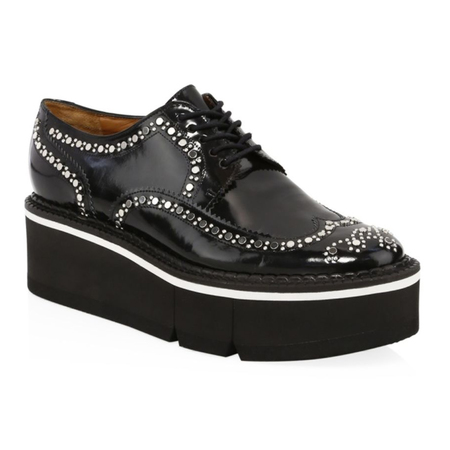 Robert Clergerie Boelou Studded Platform Wingtip Patent Leather Oxford - Black