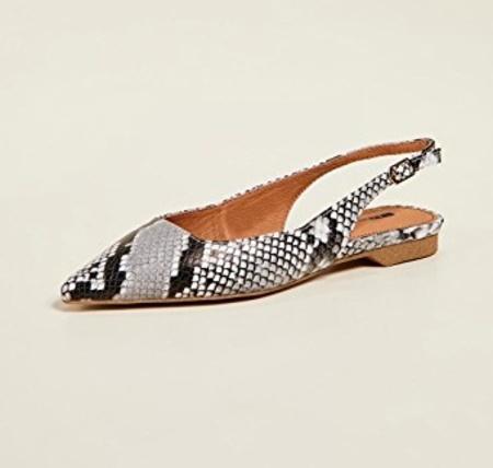 Matiko Lori Pointed Toe Slingback Flat - Snakeskin