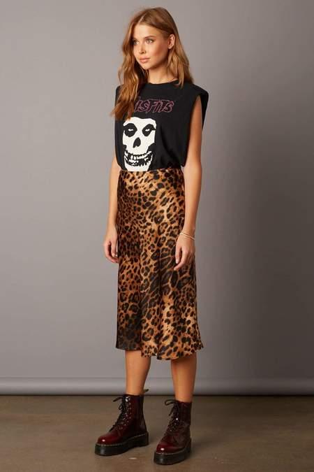"Cotton Candy LA The ""It"" Midi Skirt - Brown Leopard Print"