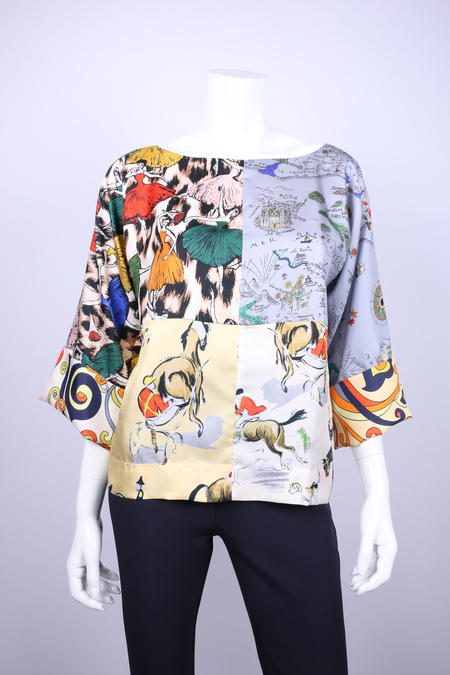 La Prestic silk kimono sleeve patchwork blouse - MULTI