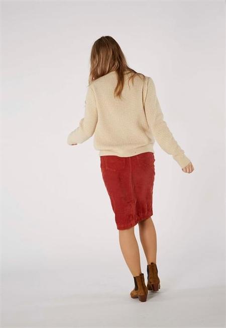 Kings Of Indigo Nefertiti Corduroy High Waist Skirt - Collegiate Red