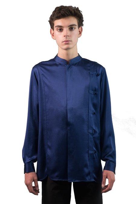 Christian Dada Satin Rotatory Chinese Shirt - Blue