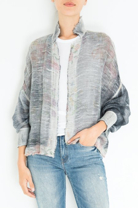 Avant Toi Floral Kimono - Blue/White