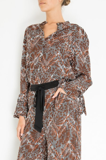 Warm Francesca Blouse - Brown Stripe