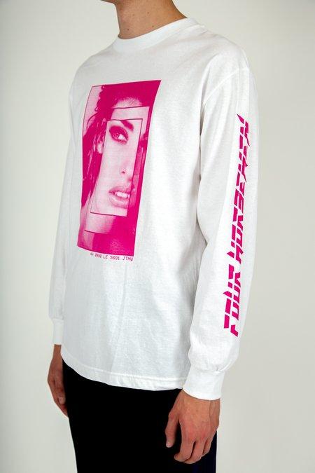 Four Horsemen LE Pink Print Long Sleeve Tee - White