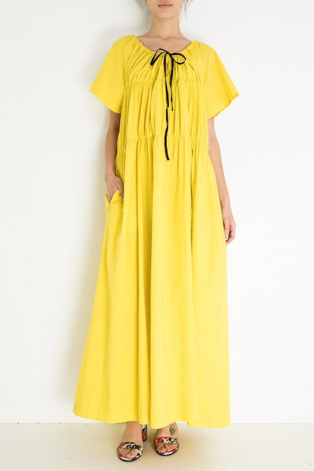 Hache Short Sleeved Rouged Long Dress - Yellow