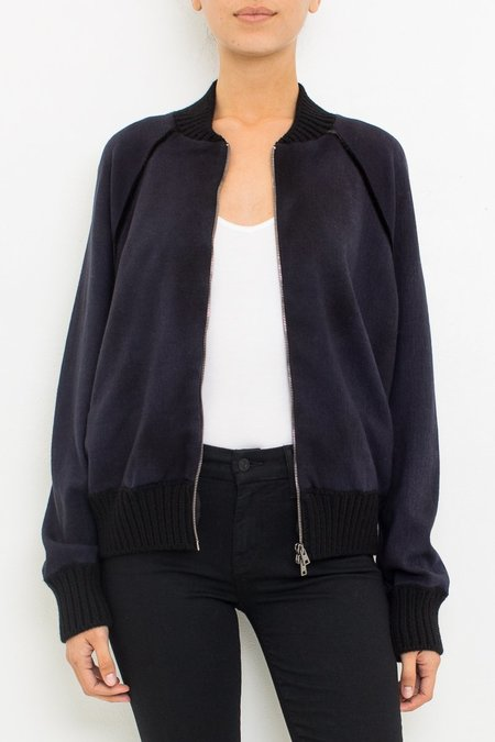 Avant Toi Zip Up Sweatshirt - Navy