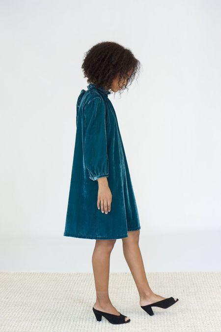 Trovata The Madison High Neck Velvet Dress - Pine