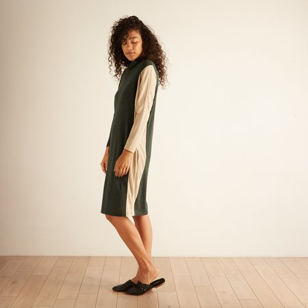 Eve Gravel Night Train Dress - Green/Cream