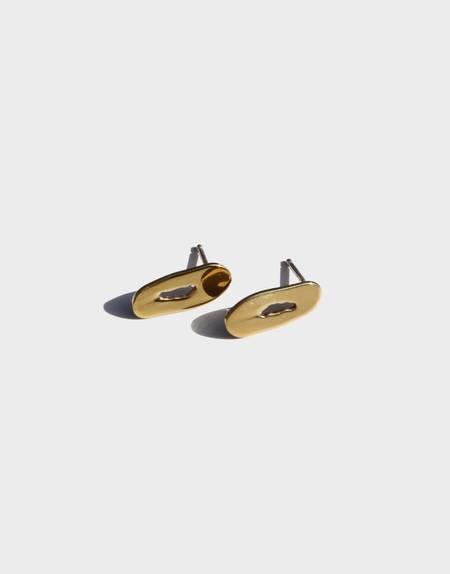 Modern Weaving Mini Oblong Stud Earrings - Brass