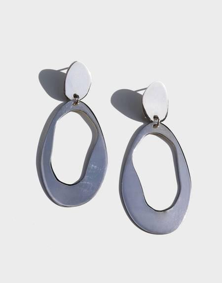 Modern Weaving Large Oval Loop Earrings - Sterling Silver