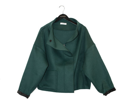 Aeron High Neck Box Coat - Emerald
