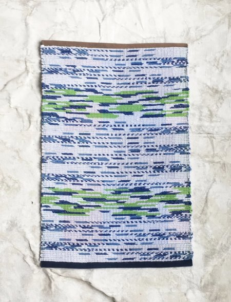 Claudia Mills 2 x 3' Rag Rug Bath Mat - Green/Blue