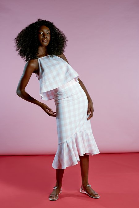 Wolcott : Takemoto Joan Skirt - Pink Gingham